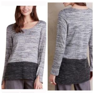 L Anthropologie Color Block Heather Gray Top
